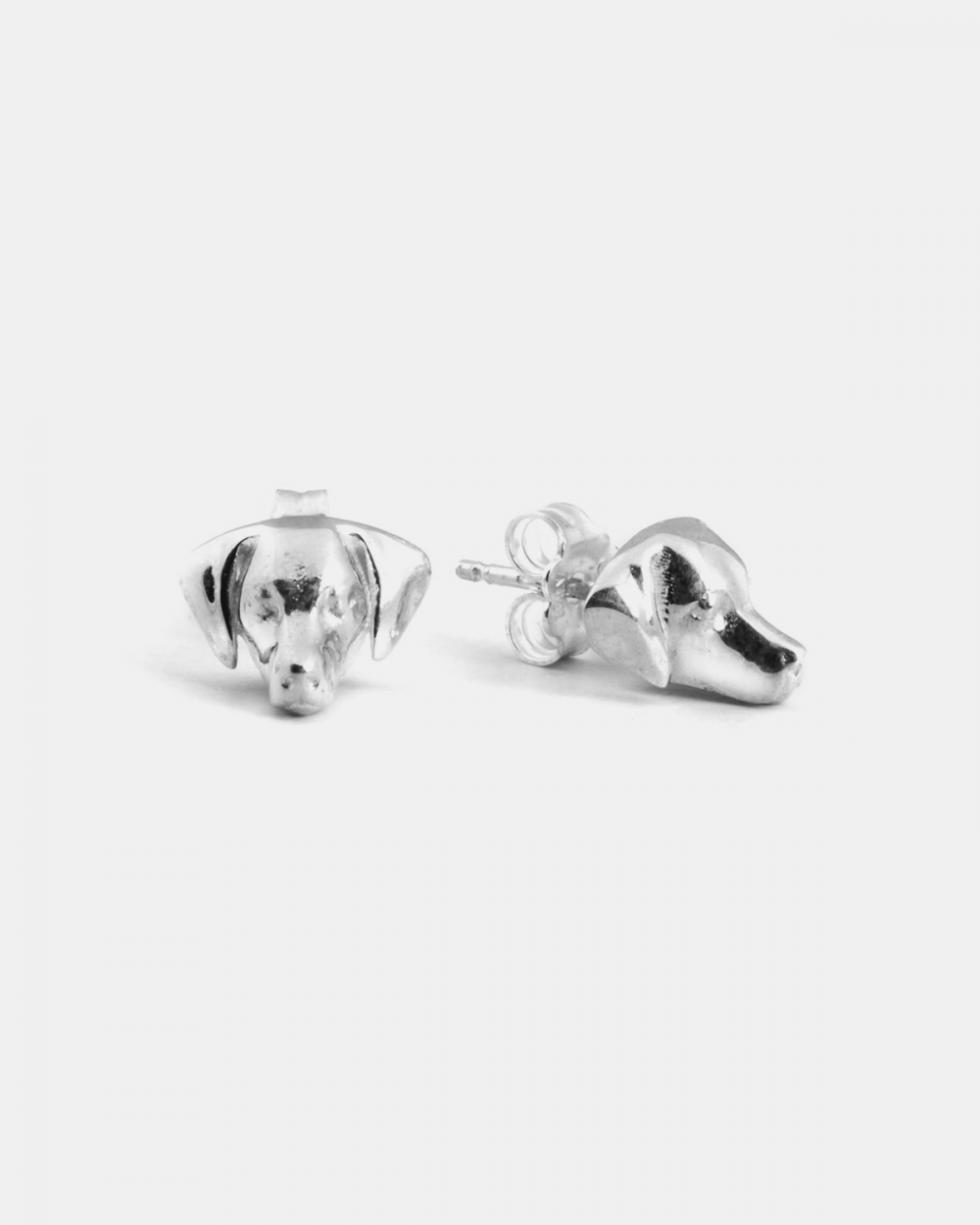 weimaraner couple earrings polished silver