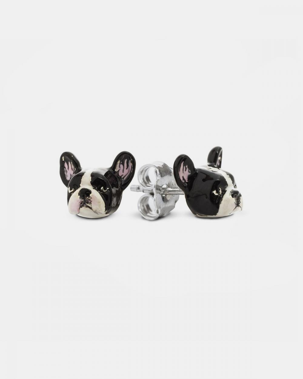french bulldog couple earrings enamelled
