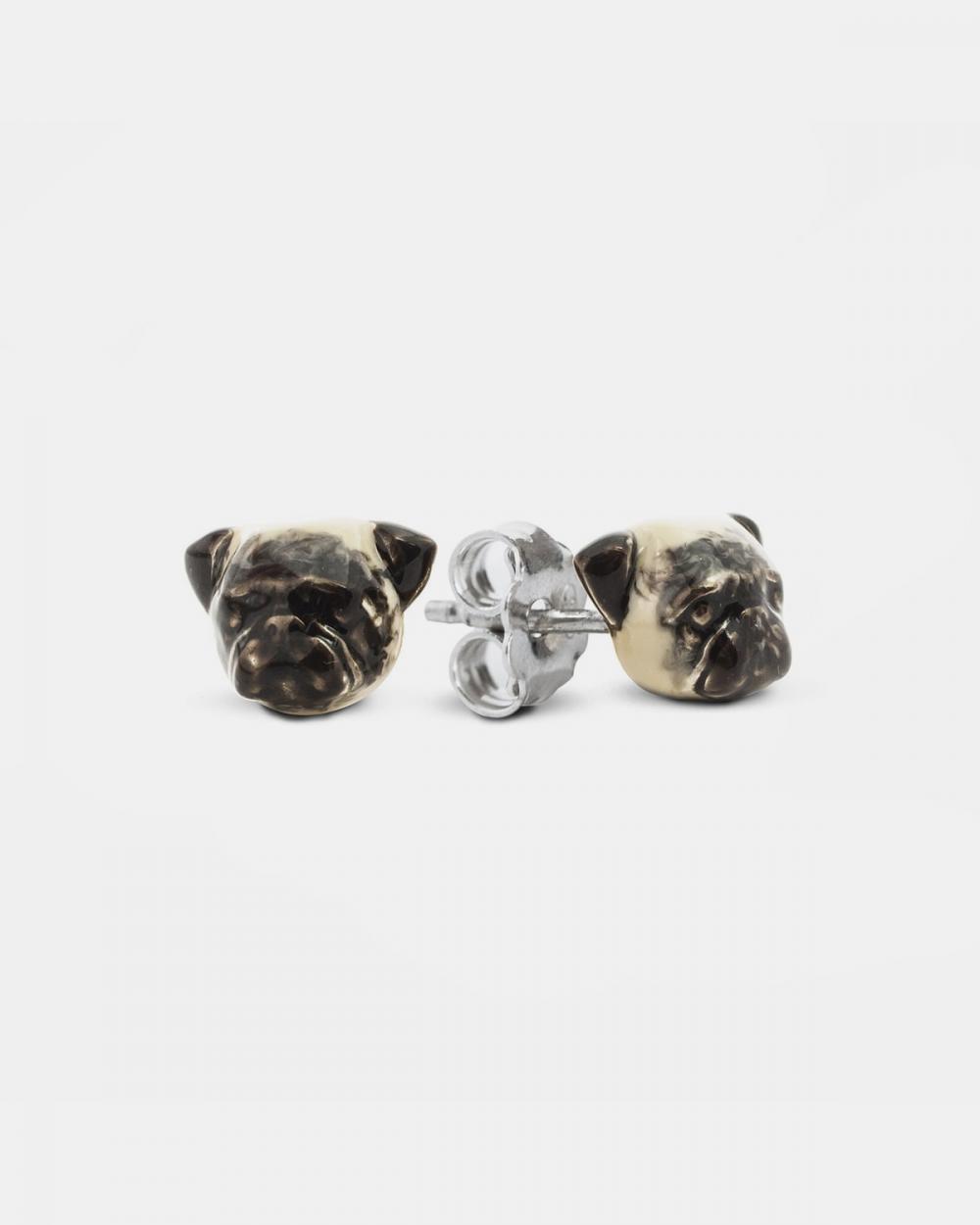 pug couple earrings enamelled
