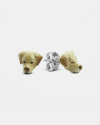 labrador retriever couple earrings enamelled