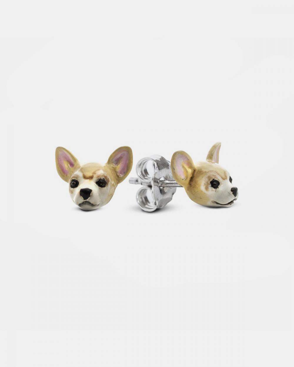 chihuahua couple earrings enamelled