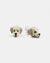 golden retriever couple earrings enamelled