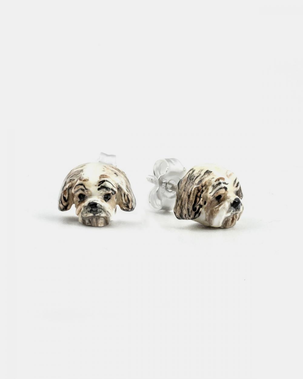 shitzu couple earrings enamelled