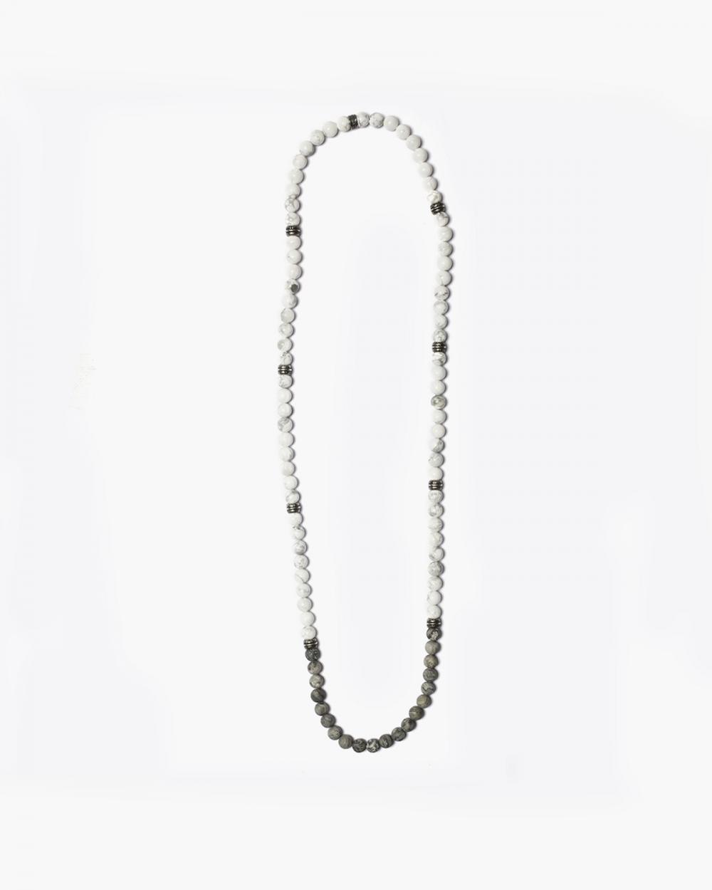 Necklaces MEDIUM WHITE & GREY STONES NECKLACE NOVE25