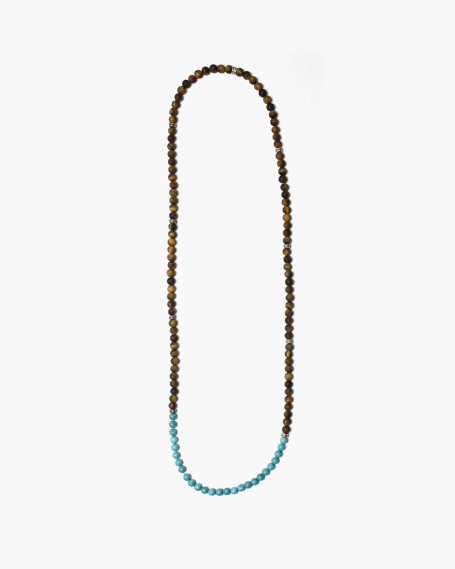 MEDIUM OCHRE & TURQUOISE STONES NECKLACE