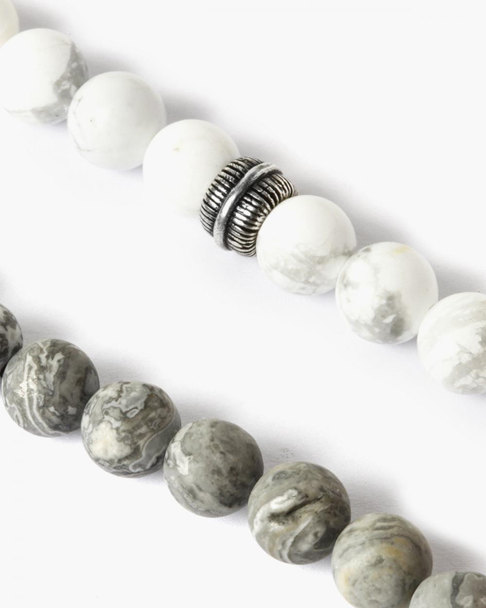 Necklaces BIG WHITE & GREY STONES NECKLACE NOVE25