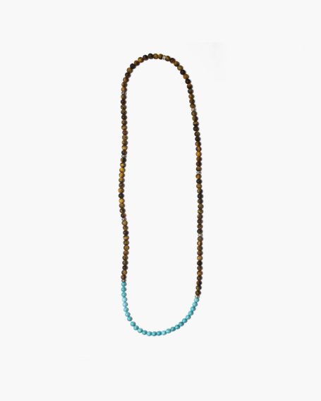 BIG OCHRE & TURQUOISE STONES NECKLACE