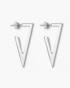silver triangular plate big earrings