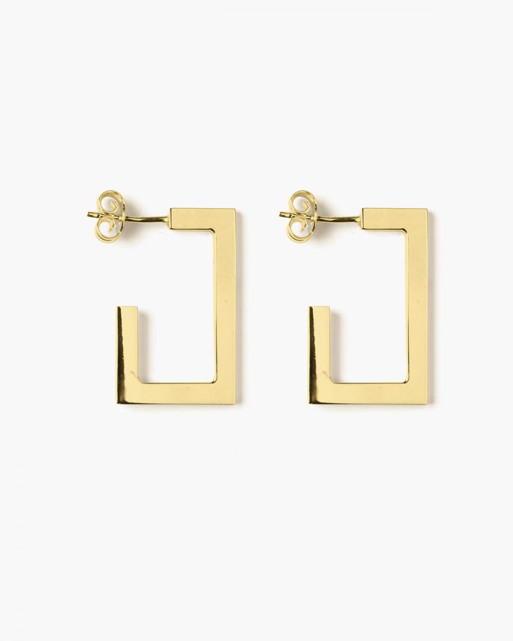 Earrings YELLOW GOLD RECTANGULAR PLATE BIG EARRINGS NOVE25