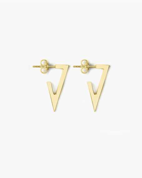 YELLOW GOLD TRIANGULAR PLATE SMALL EARRINGS