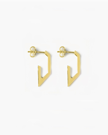 YELLOW GOLD TRAPEZE PLATE SMALL EARRINGS