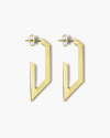 yellow gold trapeze plate big earrings