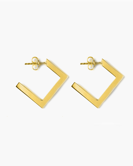 YELLOW GOLD RHOMBUS PLATE BIG EARRINGS