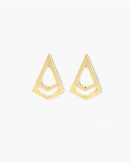 YELLOW GOLD DOUBLE POINT EARRINGS