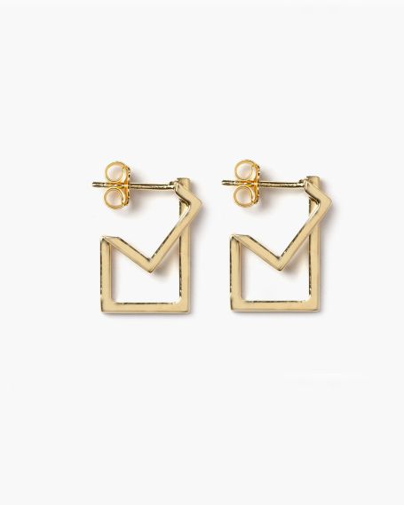 YELLOW GOLD SQUARE & RECTANGLE PLATE BIG EARRINGS