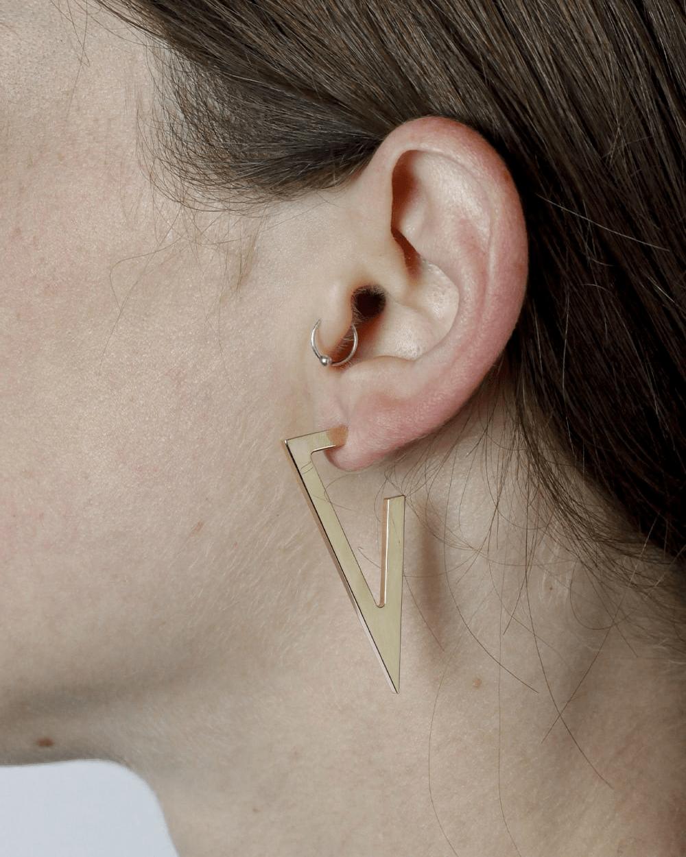 Earrings YELLOW GOLD TRIANGULAR PLATE BIG EARRINGS NOVE25