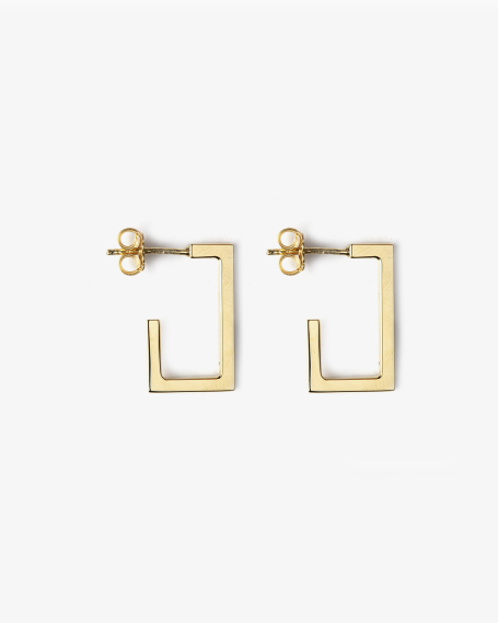 YELLOW GOLD RECTANGULAR PLATE SMALL EARRINGS
