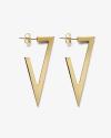 yellow gold triangular plate big earrings