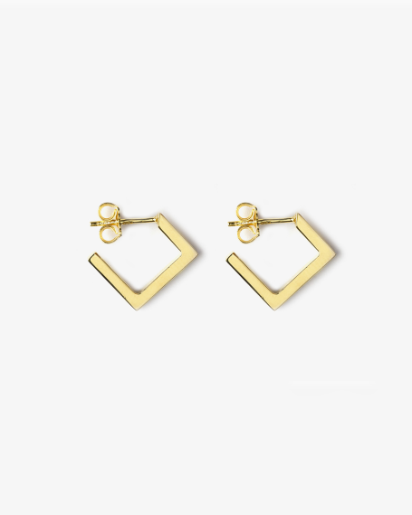 YELLOW GOLD RHOMBUS PLATE SMALL EARRINGS