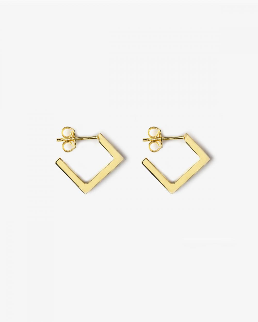 Earrings YELLOW GOLD RHOMBUS PLATE SMALL EARRINGS NOVE25
