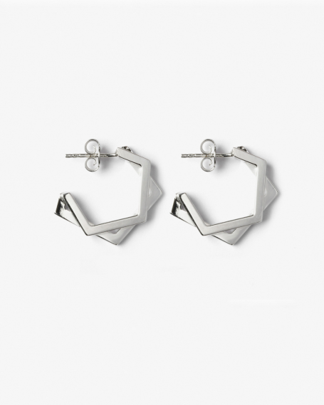 SILVER PENTAGON DOUBLE PLATE EARRINGS