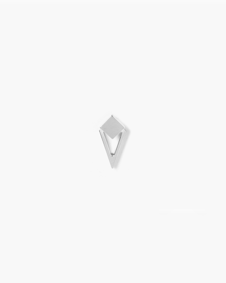 SILVER SQUARE & RHOMBOID SINGLE LOBE EARRING