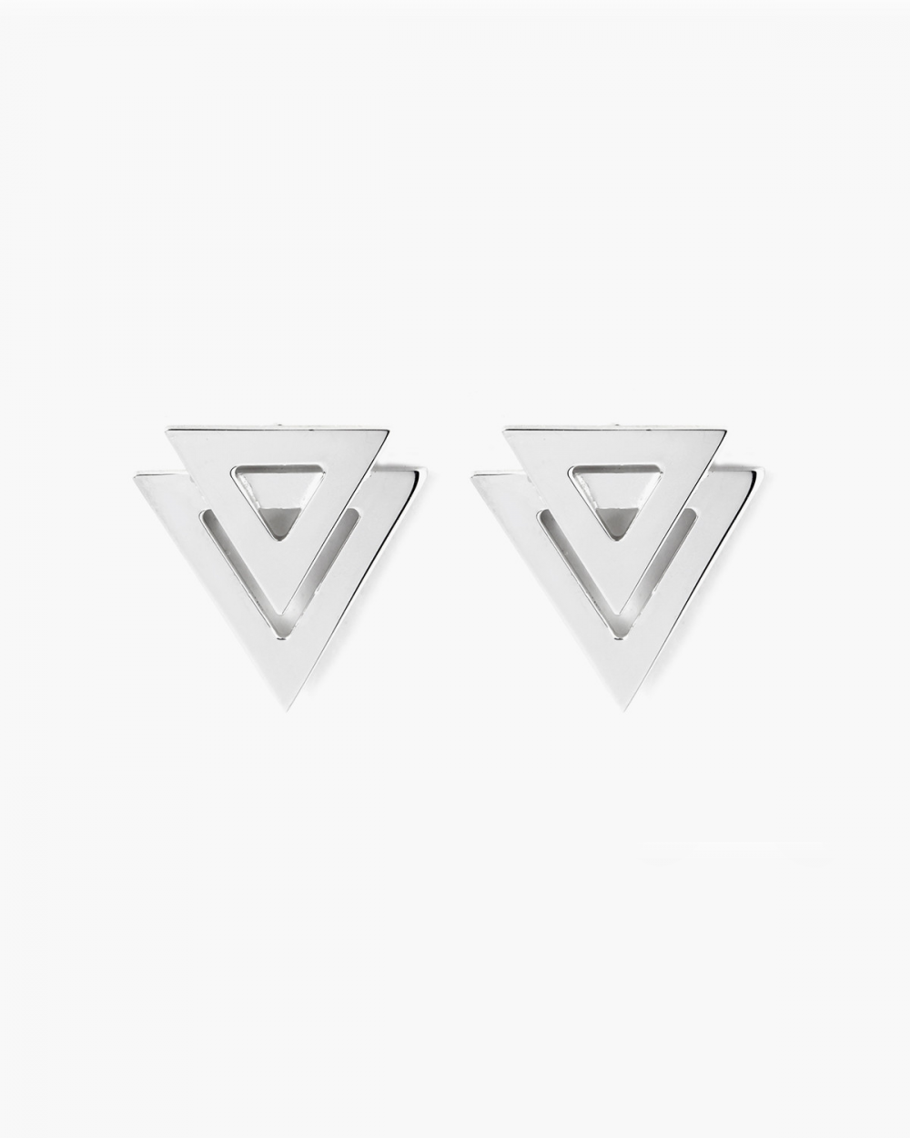 Earrings SILVER DOUBLE TRIANGLE BIG EARRINGS NOVE25