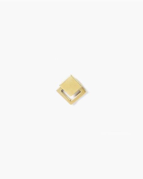YELLOW GOLD FRAMED SQUARE PIERCING SINGLE LOBE EARRING