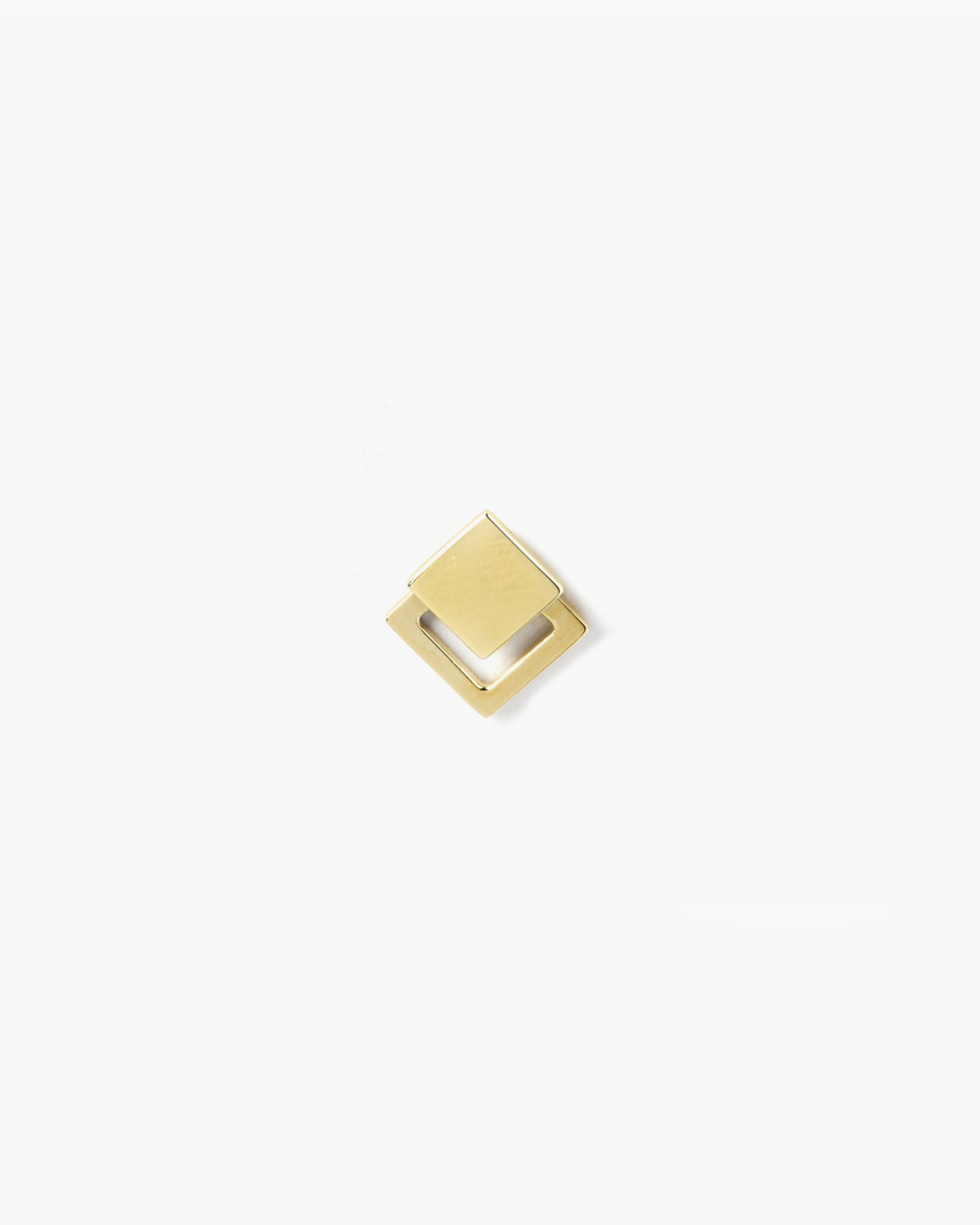 Earrings YELLOW GOLD FRAMED SQUARE PIERCING SINGLE LOBE EARRING NOVE25