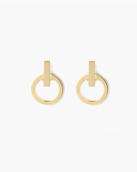 YELLOW GOLD CIRCLE & BAR EARRINGS