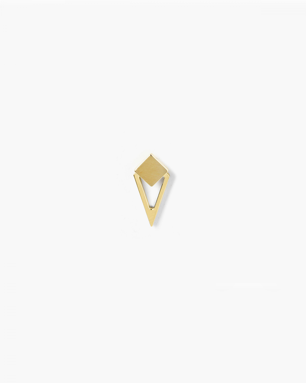 Earrings YELLOW GOLD SQUARE & RHOMBOID SINGLE LOBE EARRING NOVE25