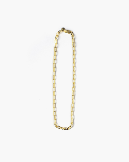 YELLOW GOLD MEDIUM OVAL BOX CHAIN NECKLACE