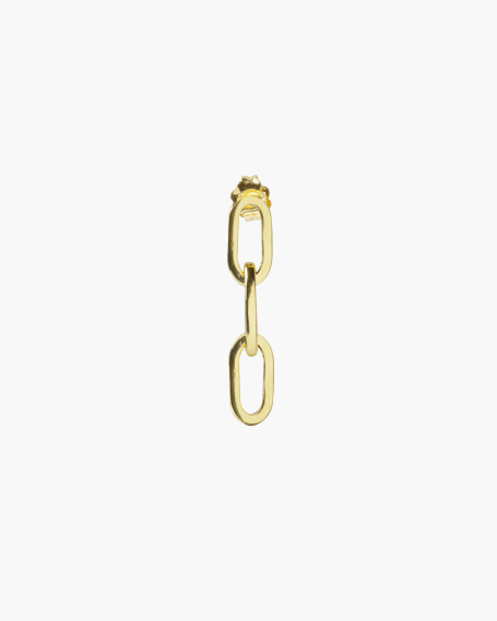 YELLOW GOLD MEDIUM OVAL BOX CHAIN SINGLE EARRING
