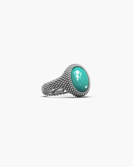 DOTTED OVAL SIGNET RING WITH STONE