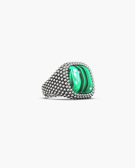 DOTTED SQUARE SIGNET RING WITH STONE