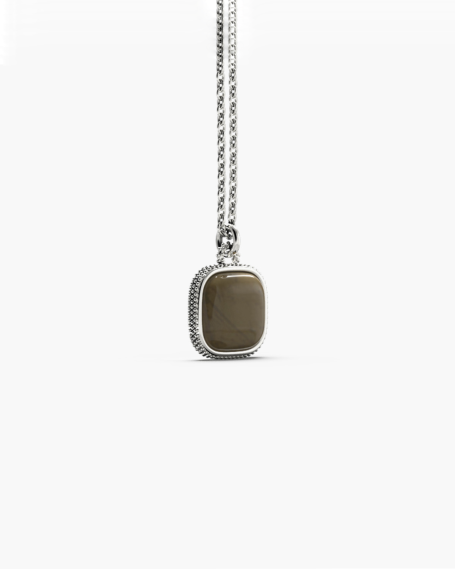 DOTTED SQUARE STONE PENDANT