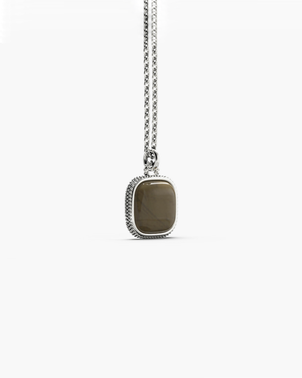 MYNOVE25 DOTTED SQUARE STONE PENDANT NOVE25