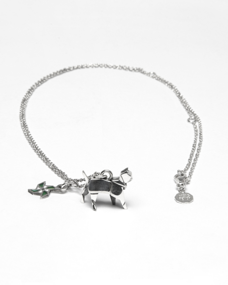 """ORIGAMI CAT """"LOYALTY"""" NECKLACE / POLISHED RHODIUM PLATED"""