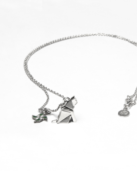 "ORIGAMI CAT ""PATIENCE"" NECKLACE / POLISHED RHODIUM PLATED"