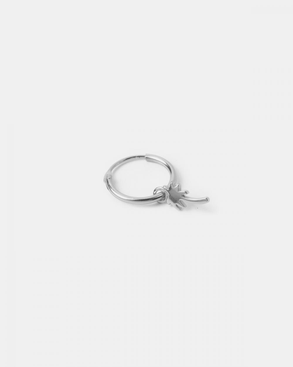 Earrings ORECCHINO SINGOLO CERCHIO E PALMA CHARM / RODIO LUCIDO - O/S NOVE25