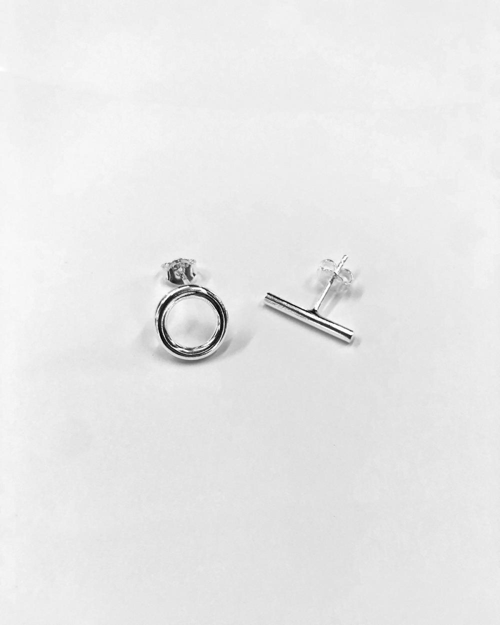 Earrings ORECCHINI COPPIA LOBO CERCHIO E BARRETTA / ARGENTO LUCIDO NOVE25