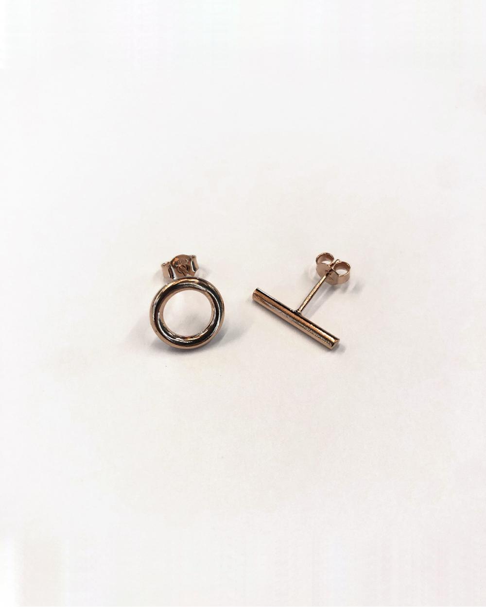 Earrings ORECCHINI COPPIA LOBO CERCHIO E BARRETTA / ORO ROSA LUCIDO NOVE25