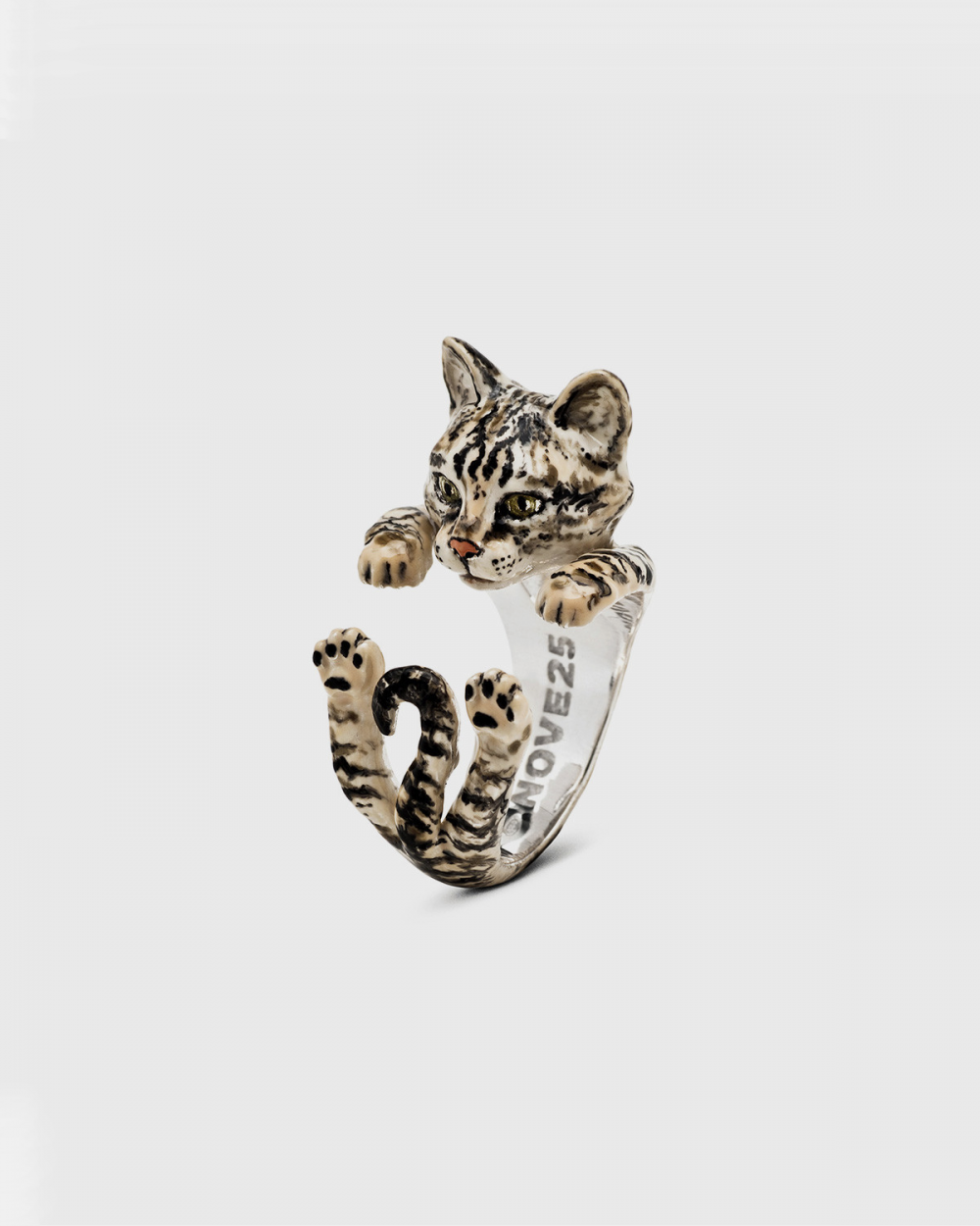 ANELLO HUG EUROPEO / SMALTO TIGRATO CAT FEVER