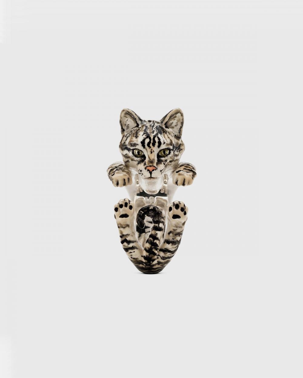 Anelli ANELLO HUG EUROPEO / SMALTO TIGRATO CAT FEVER NOVE25