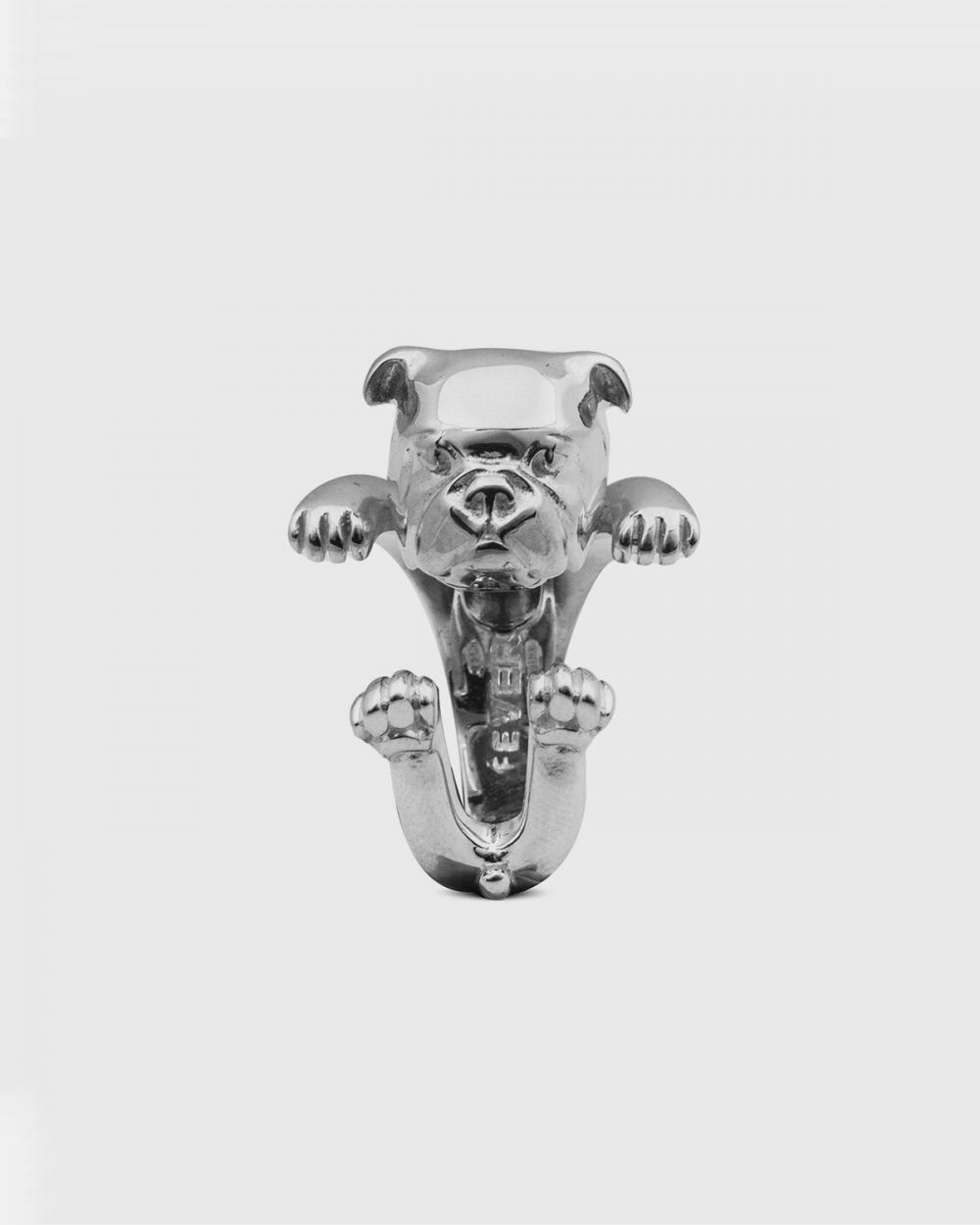 anello hug bulldog inglese argento lucido