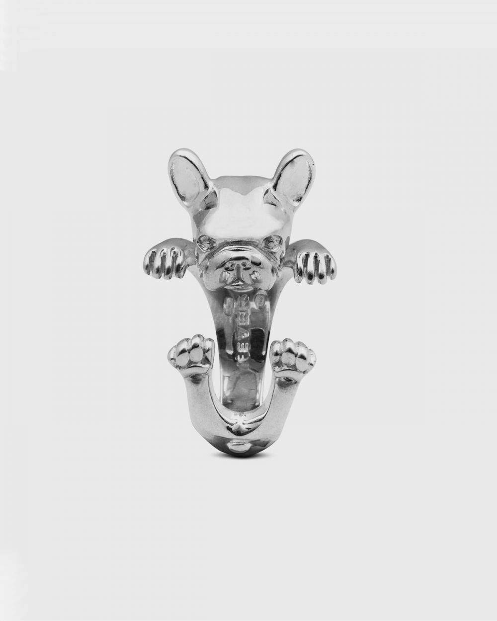 Rings FRENCH BULLDOG HUG RING / POLISHED SILVER NOVE25