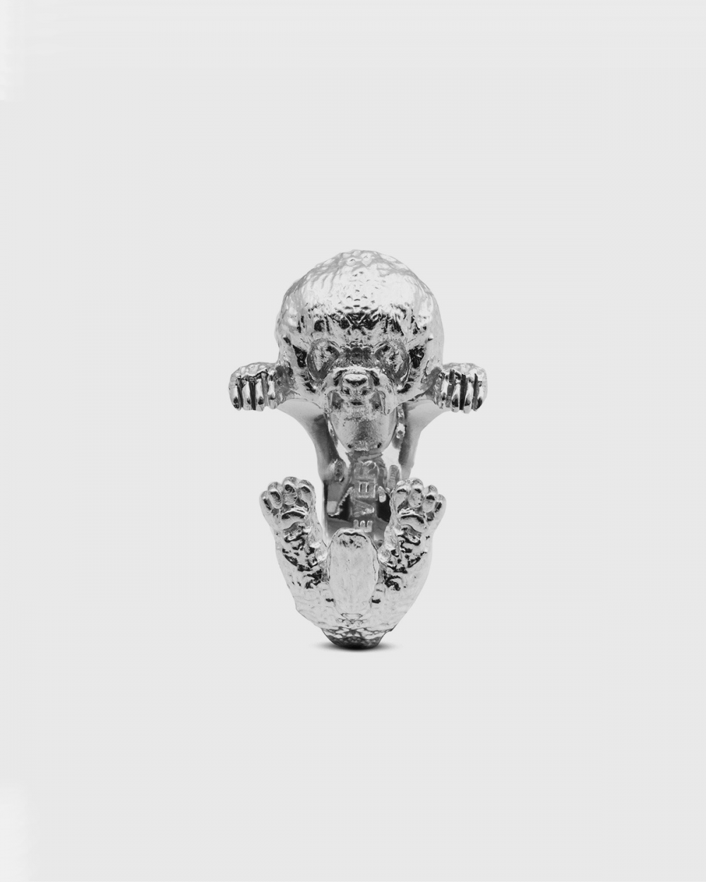 anello hug bichon frise argento lucido