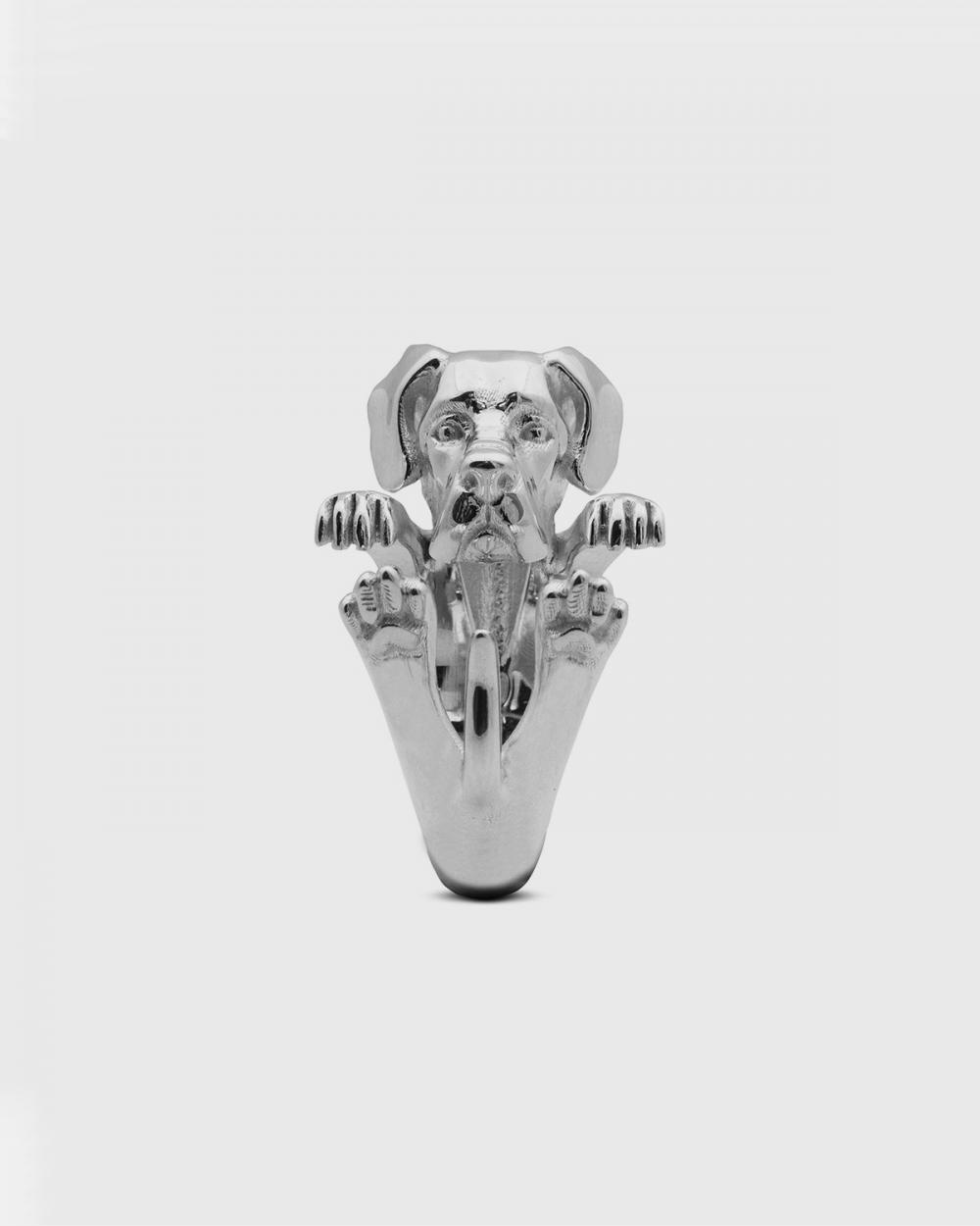 anello hug alano argento lucido