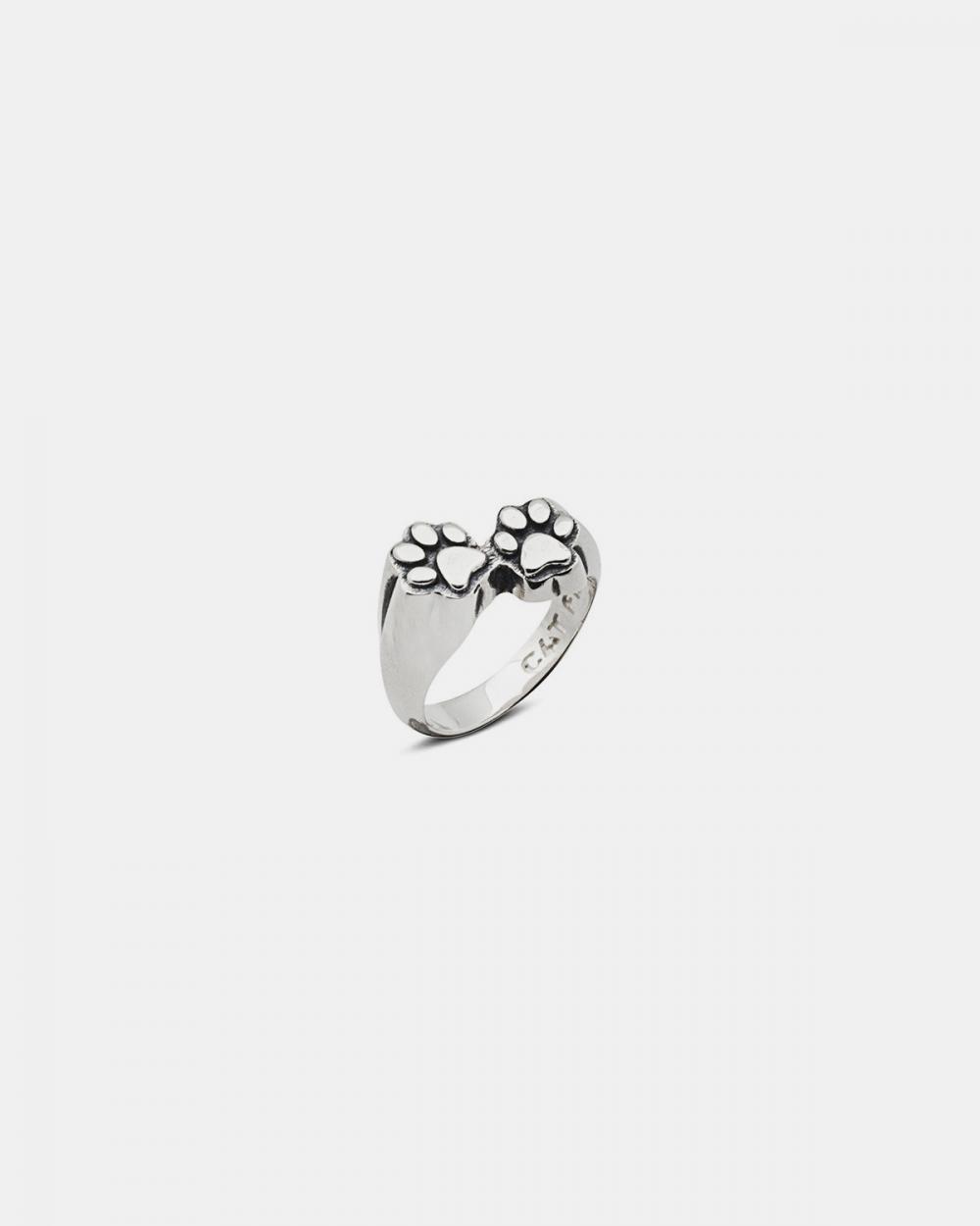 anello cat print argento brunito lucido