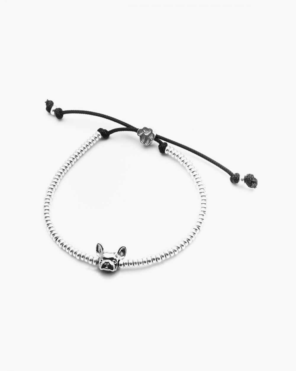 french bulldog snout bracelet polished silver